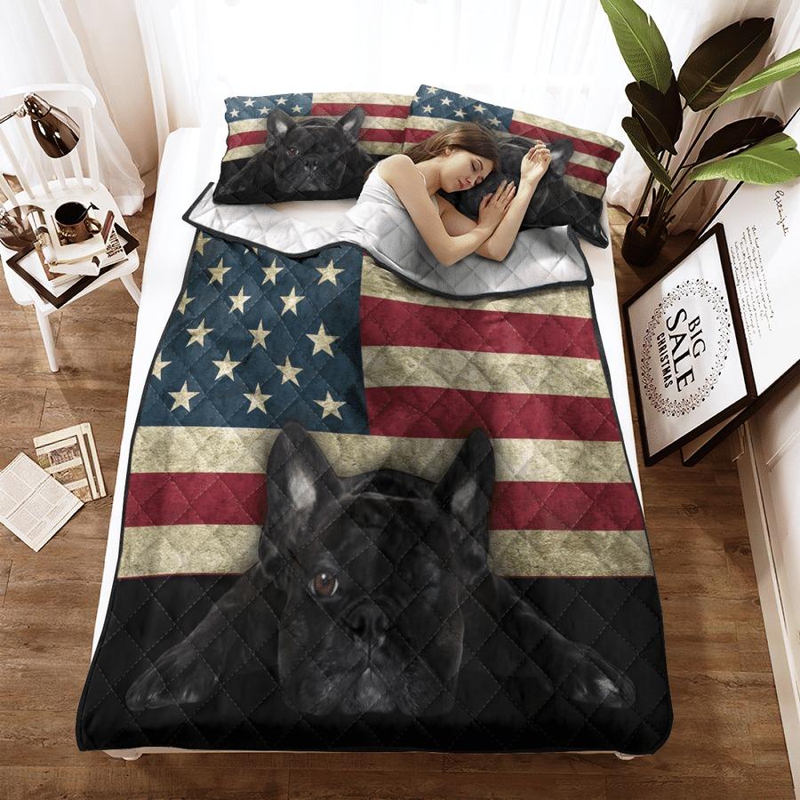 French Bulldog American Flag bedding set3