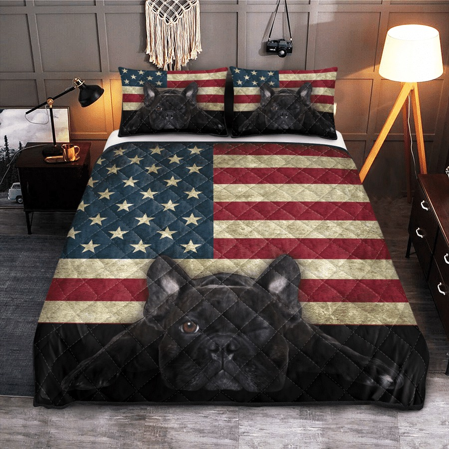 French Bulldog American Flag bedding set2