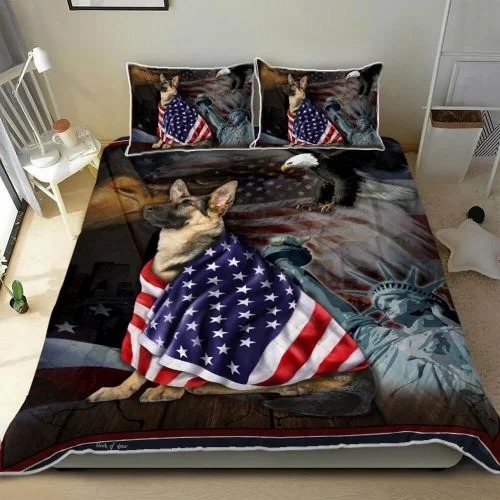 German Shepherd American Patriot Quilt Bedding set3