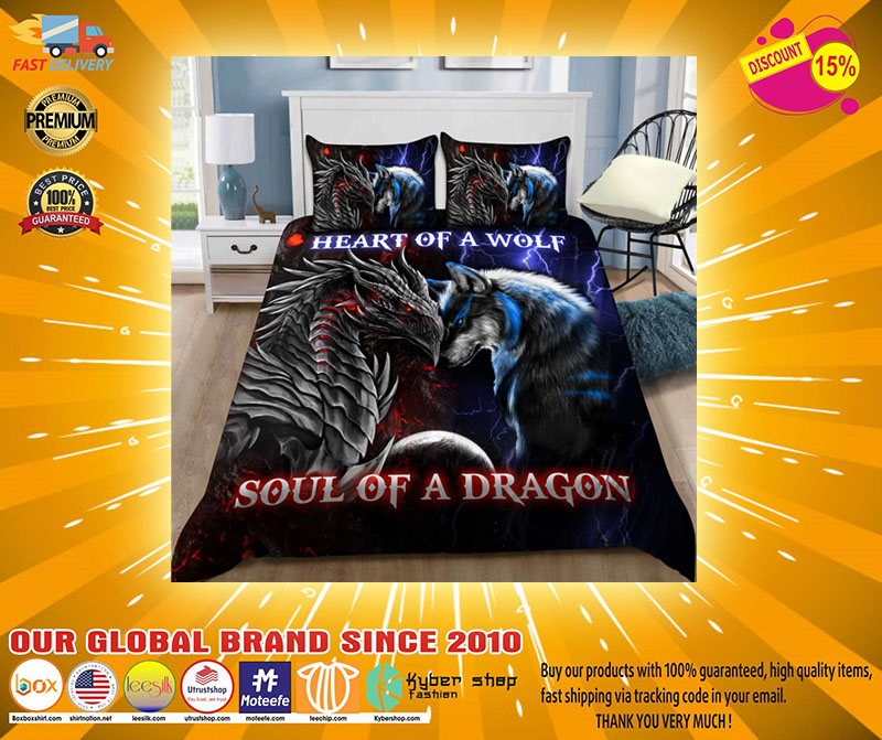 Heart of a wolf soul of a dragon bedding set4