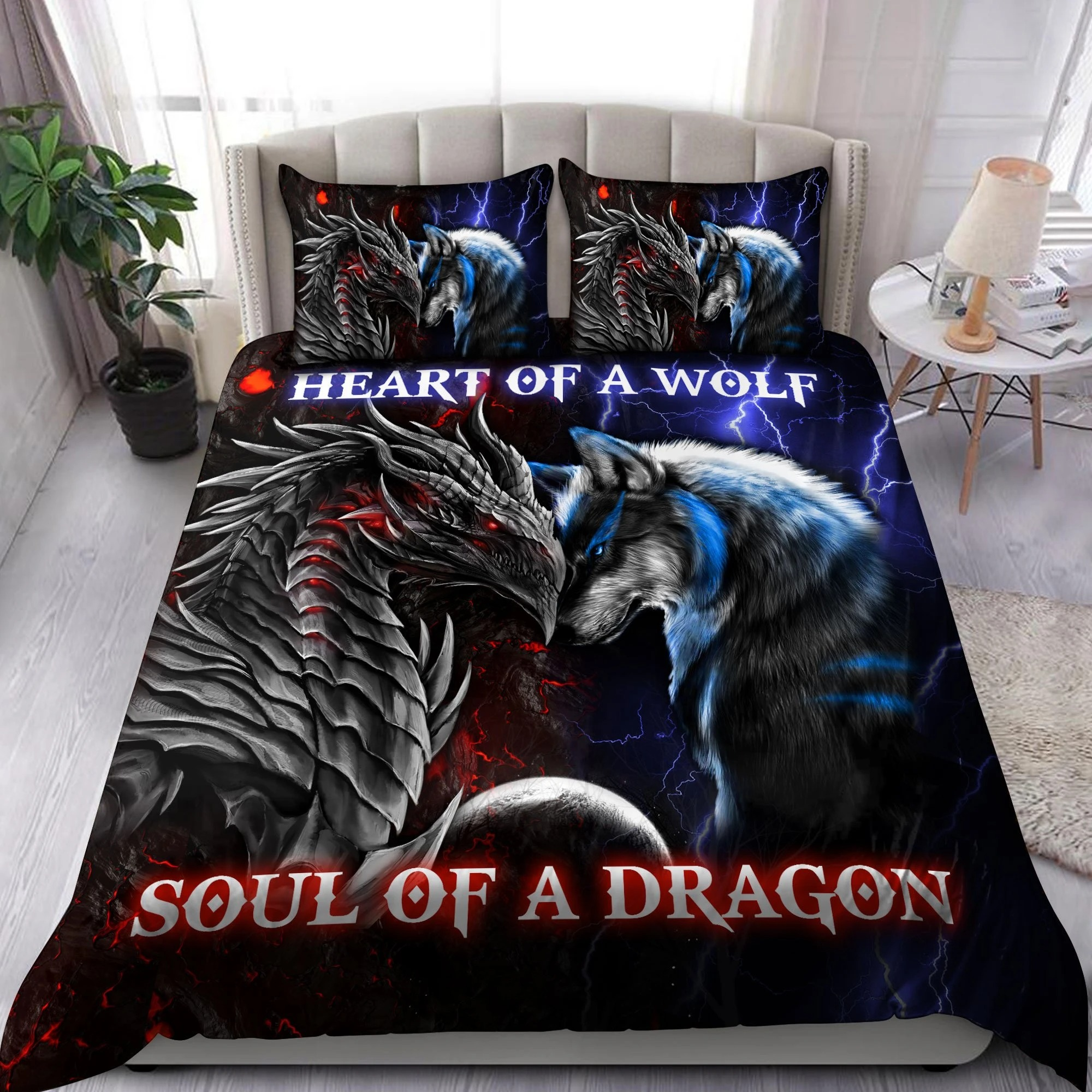 Heart of a wolf soul of a dragon bedding set3