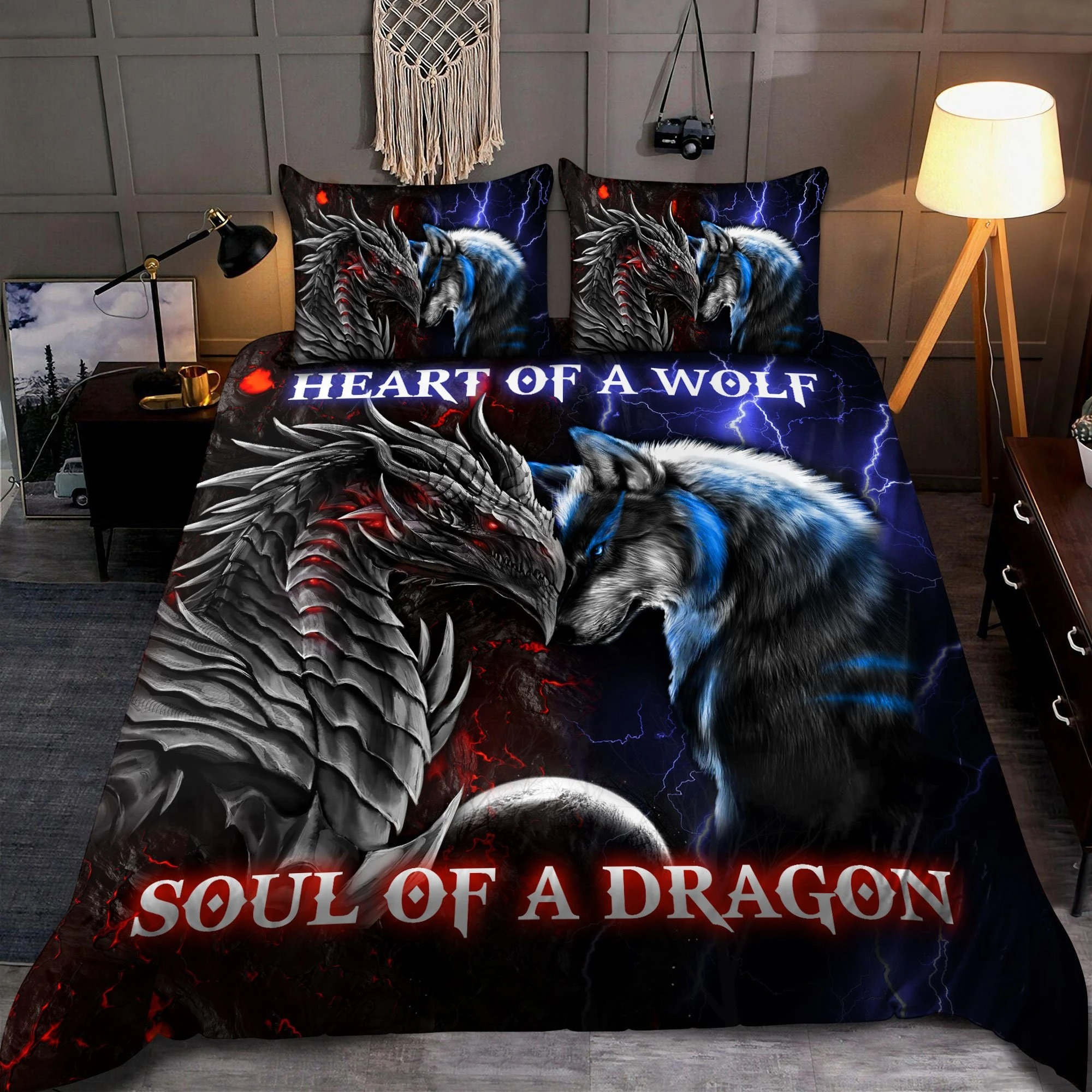 Heart of a wolf soul of a dragon bedding set2