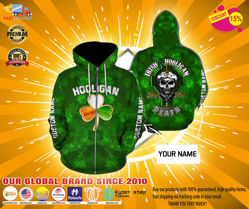 Hooligan Irish custom name 3D hoodie3