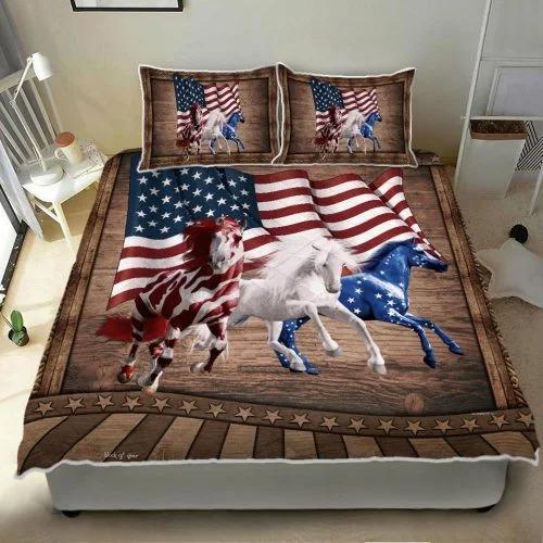 Horse running American bedding set3