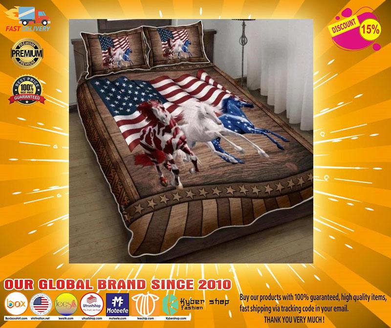 Horse running American bedding set4