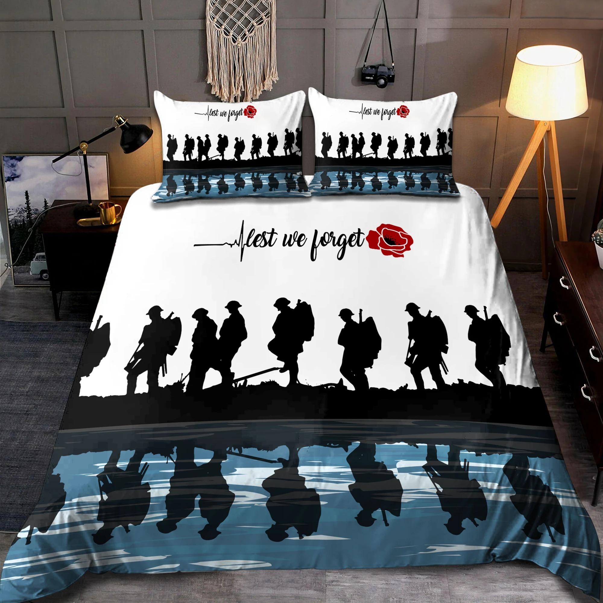 Lest we forget Honor the fallen UK Veteran 3D bedding set3