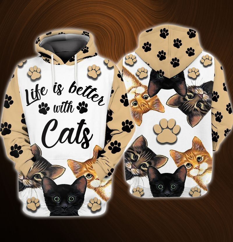 Life is better with cats 3D over print hoodie