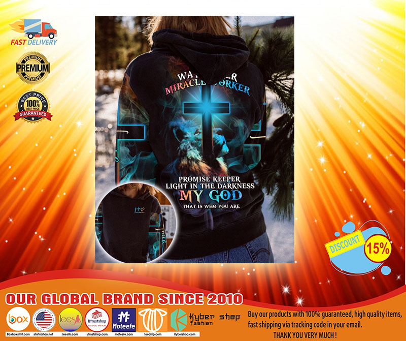 Lion way maker miracle worker my god 3D over print hoodie3
