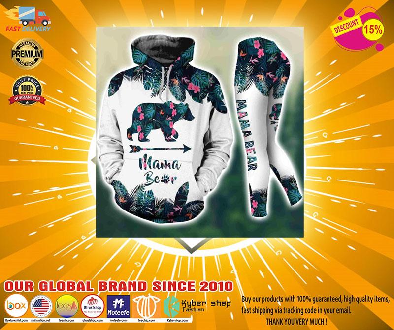 Mama bear tropical leaves 3D hoodie and legging4
