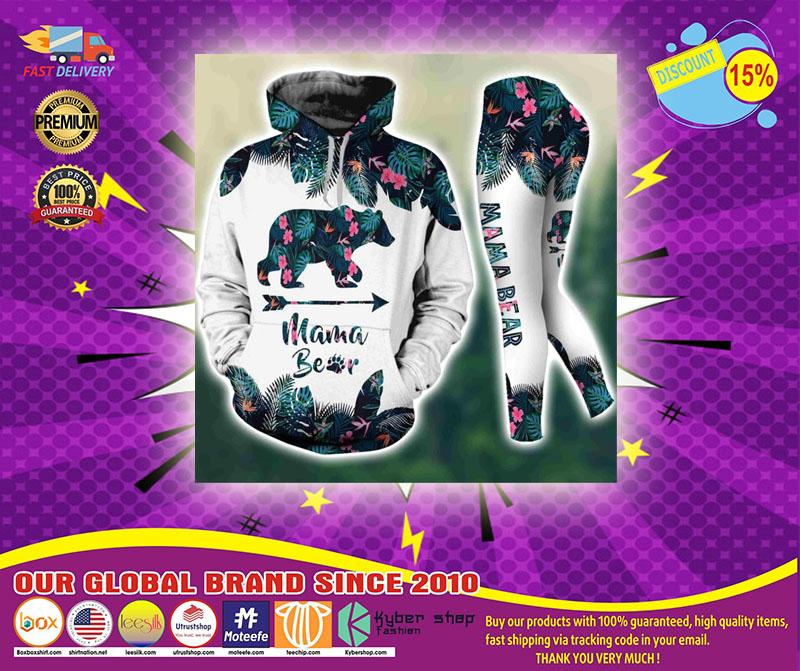Mama bear tropical leaves 3D hoodie and legging3