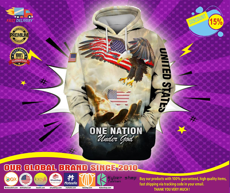 One nation American eagle under god 3D hoodie1