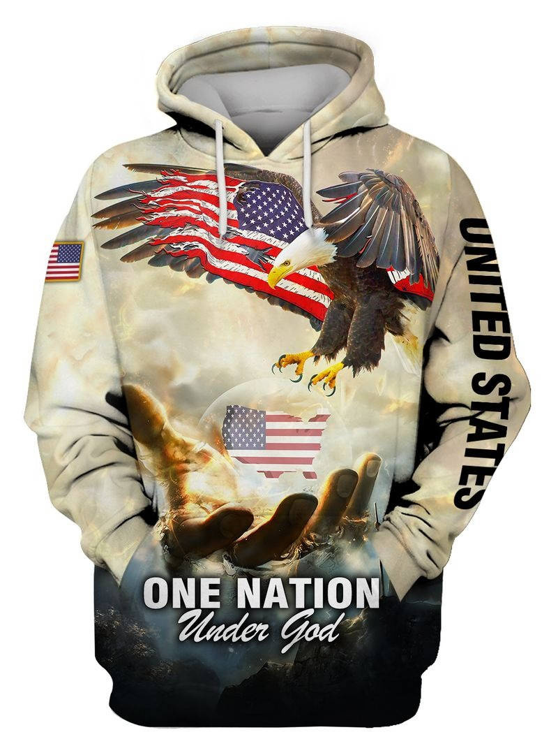 One nation American eagle under god 3D hoodie