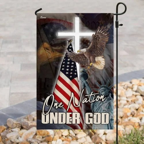 One nation under god eagle American flag4