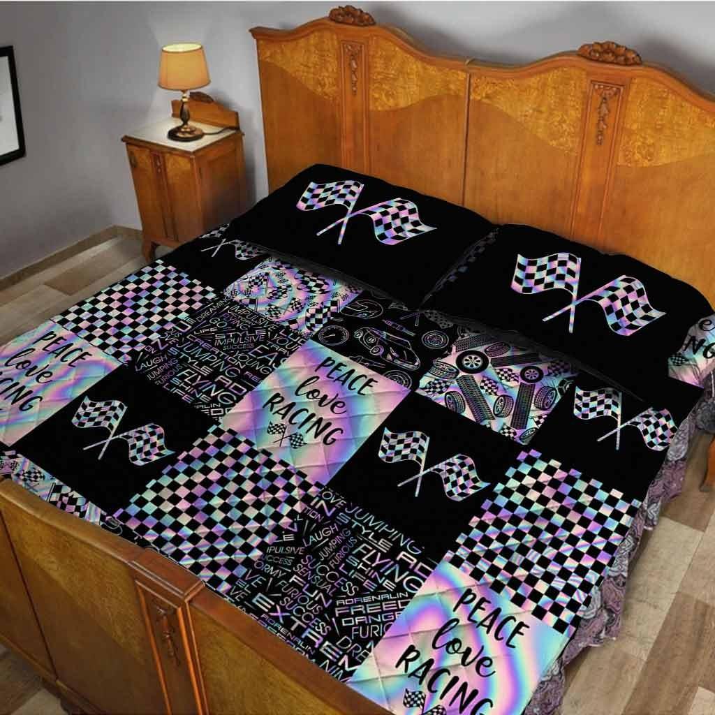 Peace love racing bedding set3