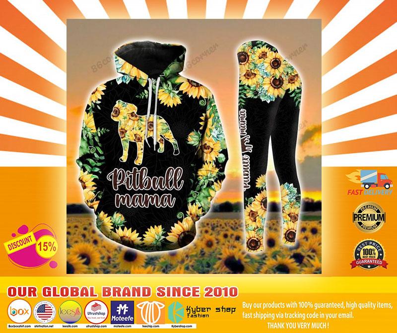 Pitbull mama Sunflower 3D hoodie and legging4