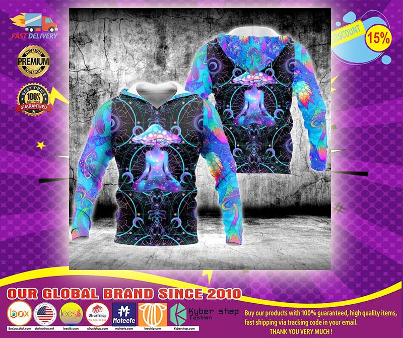 Psychedelic yoga magic mushroom 3D hoodie1