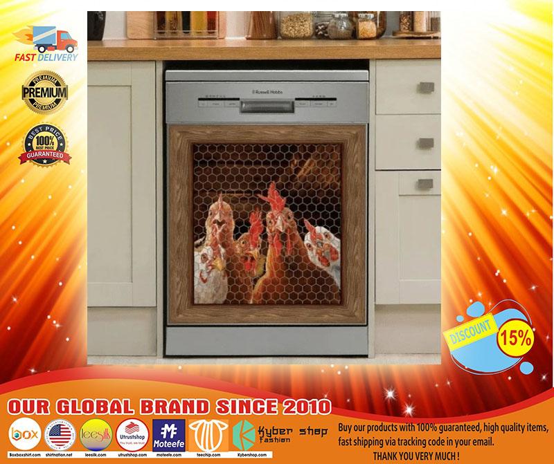 Rooster chicken decor kitchen dishwasher3