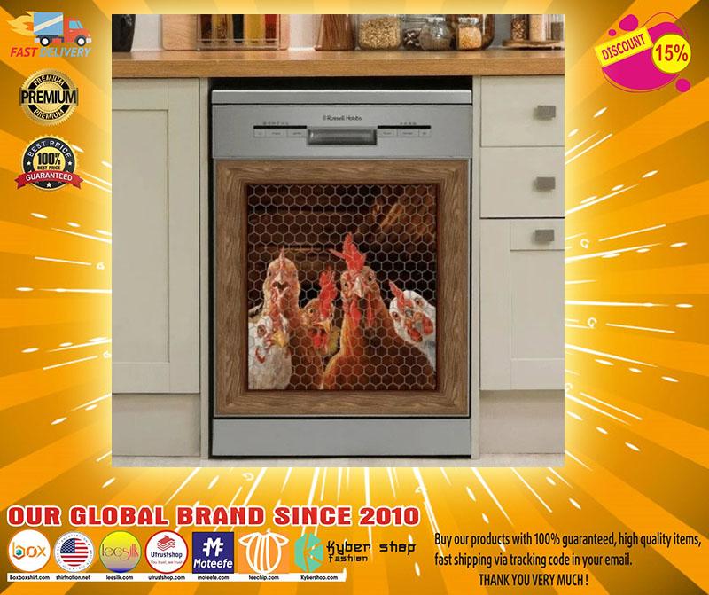 Rooster chicken decor kitchen dishwasher2