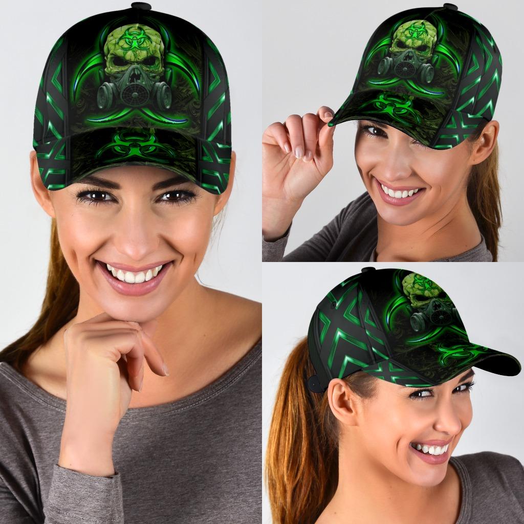 Skull biojazard mask green classic cap3