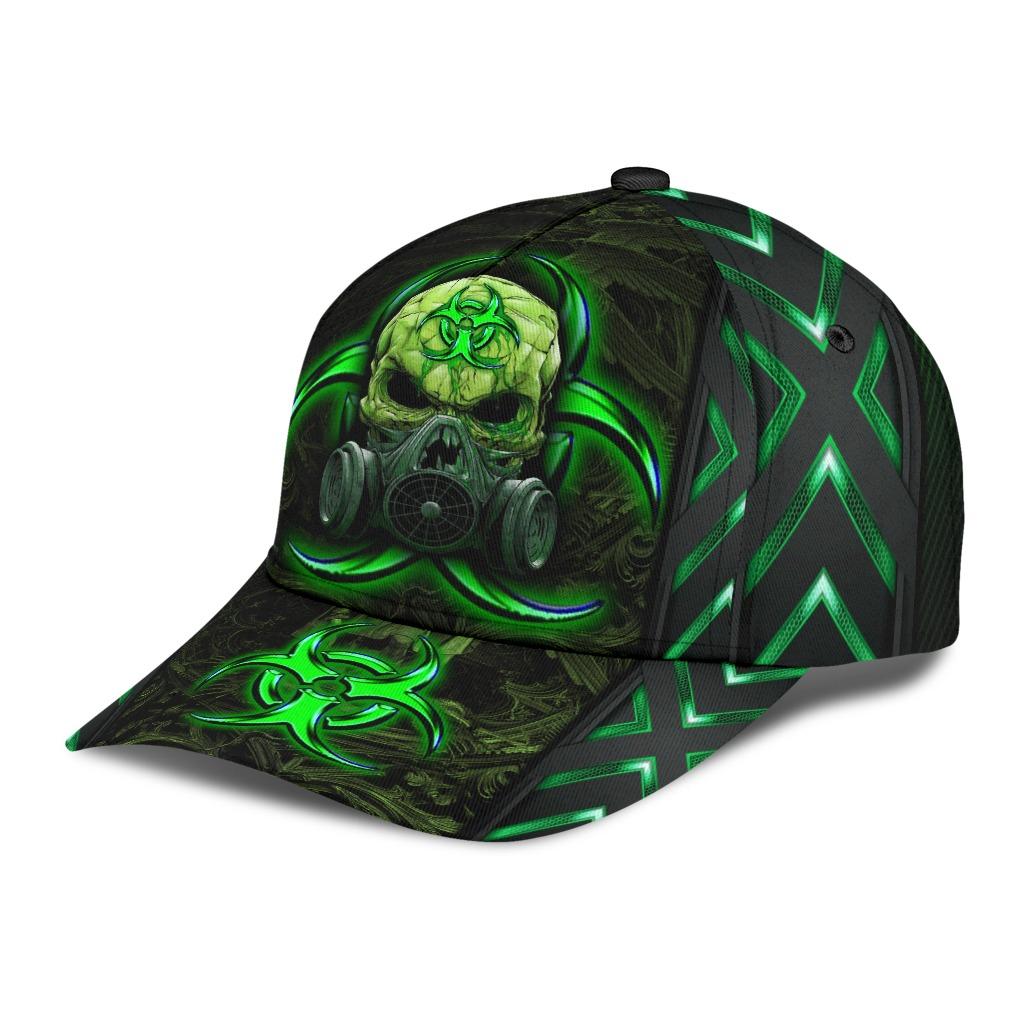 Skull biojazard mask green classic cap2