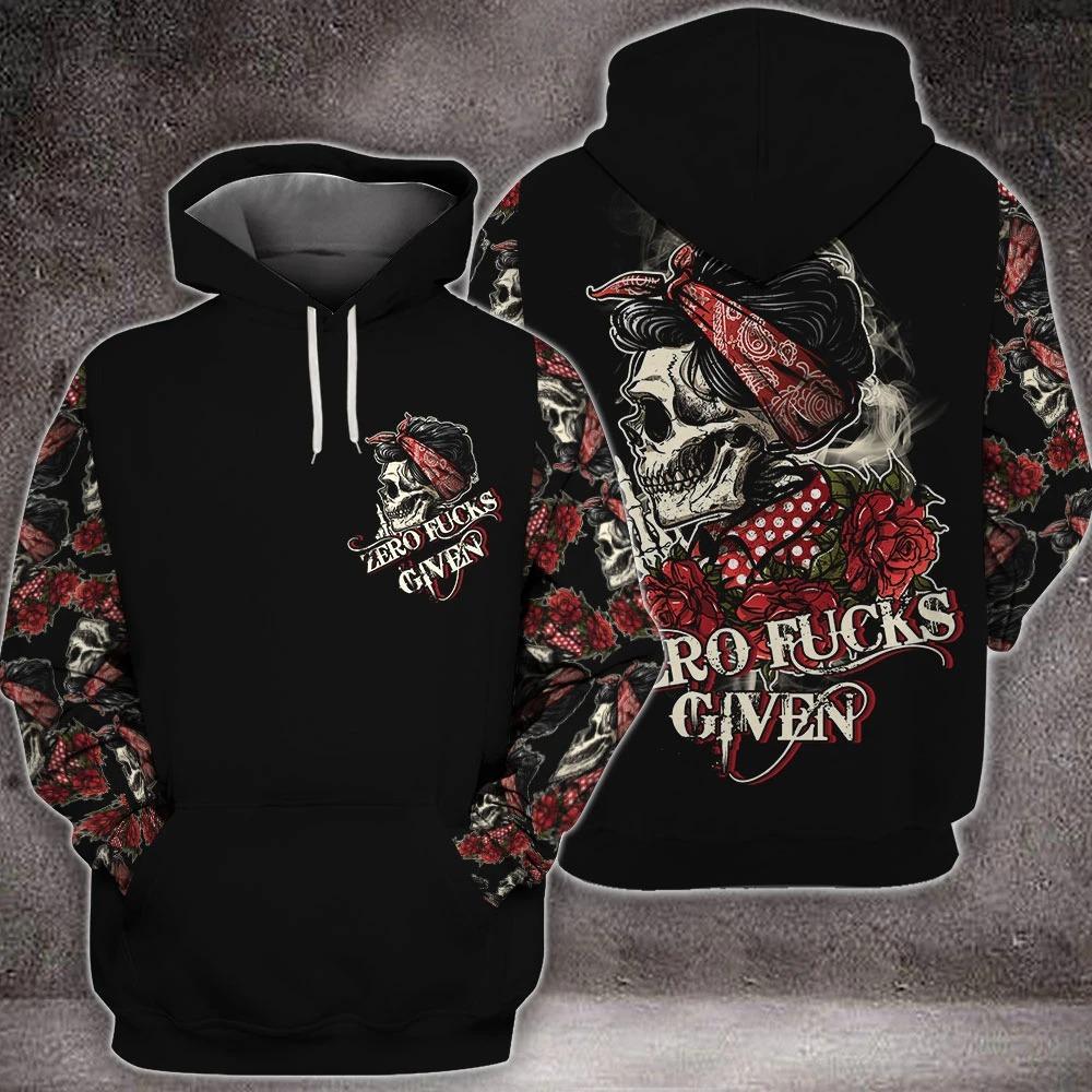 Skull rose zero fucks given 3D hoodie2