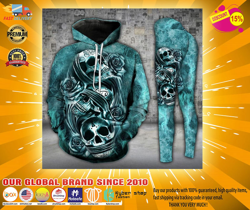 Skull trio turquoise 3D hoodie and legging4