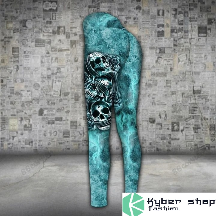 Skull trio turquoise 3D hoodie and legging3