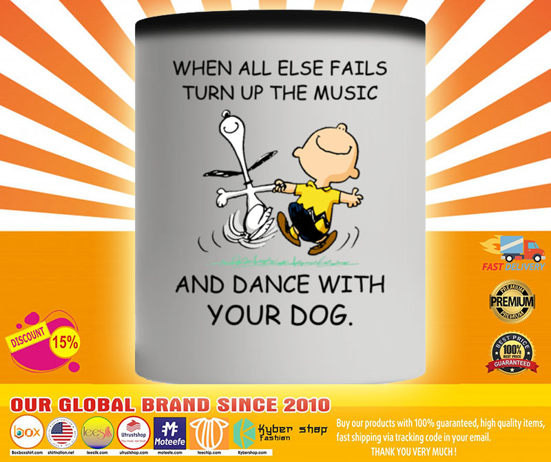Snoopy and Charlie Brown When all else fails turn up the music and dance with your dog mug4