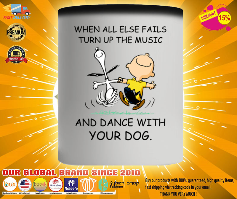 Snoopy and Charlie Brown When all else fails turn up the music and dance with your dog mug2