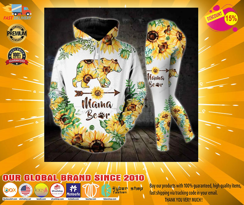 Sunflower and bear mama 3D hoodie and legging4