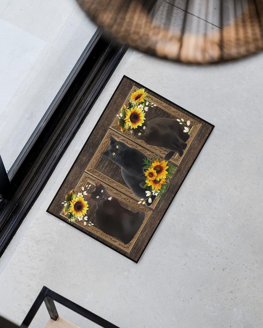 Sunflower black cat doormat3