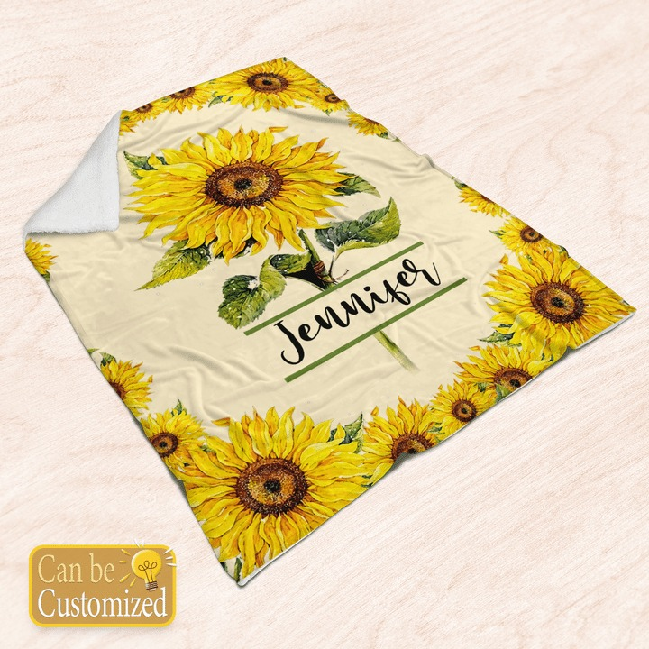 Sunflower custom personalized name blanket4