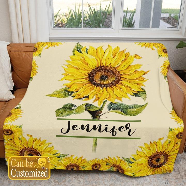 Sunflower custom personalized name blanket2