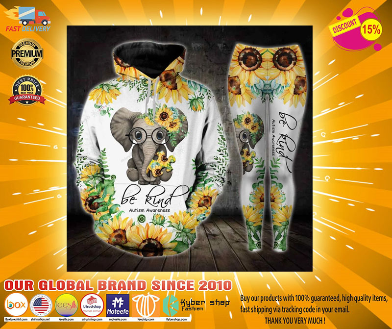 Sunflower elephant be kind autism awareness 3D hoodie and legging4