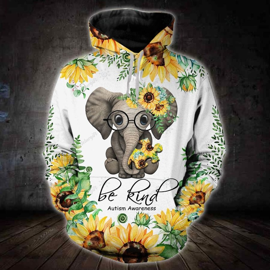 Sunflower elephant be kind autism awareness 3D hoodie and legging2