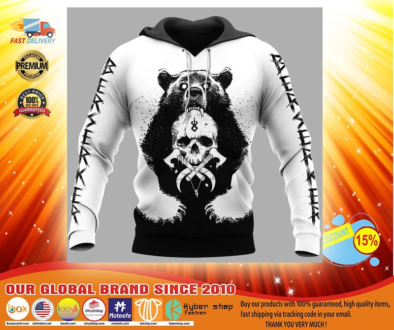 Viking and bear 3D hoodie4