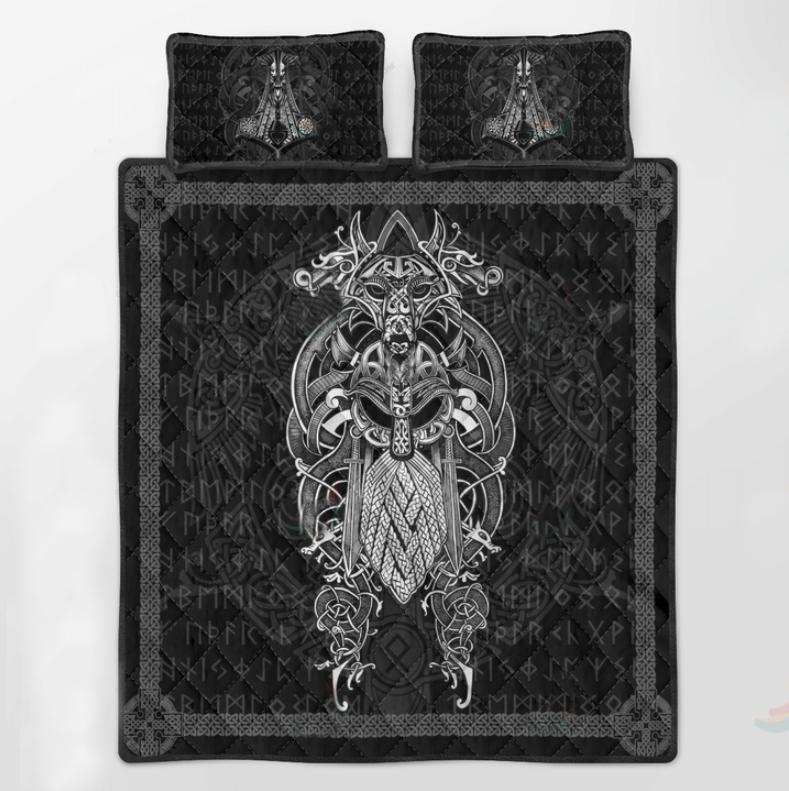 Viking Odin tattoo bedding set3