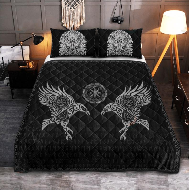 Viking the raven of Odin tattoo bedding set2