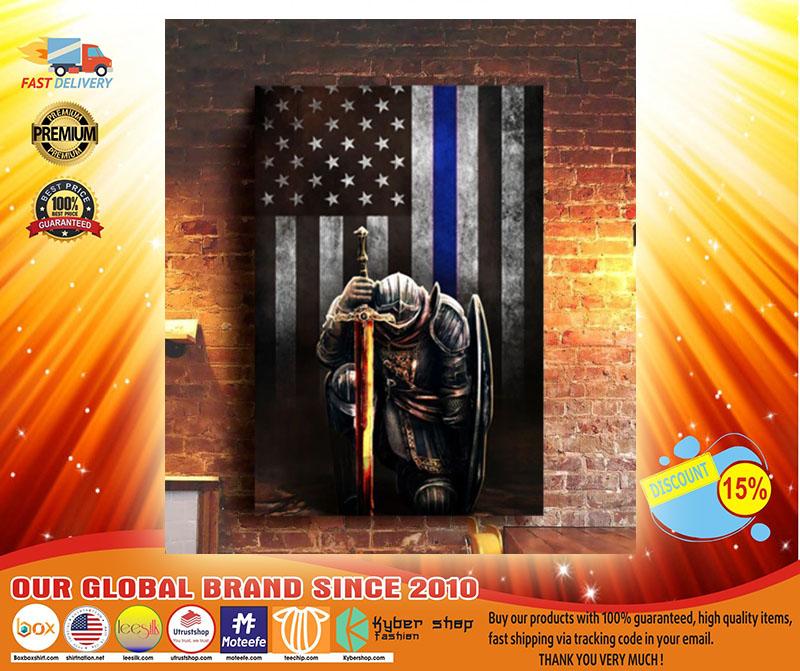 Warrior knight american blue line flag canvas3