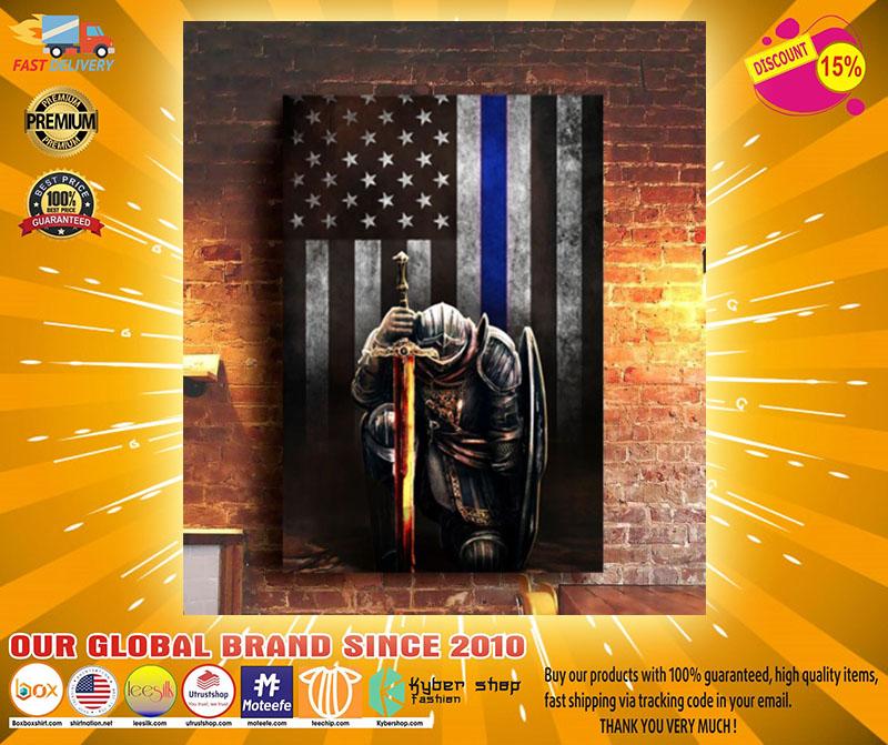 Warrior knight american blue line flag canvas2