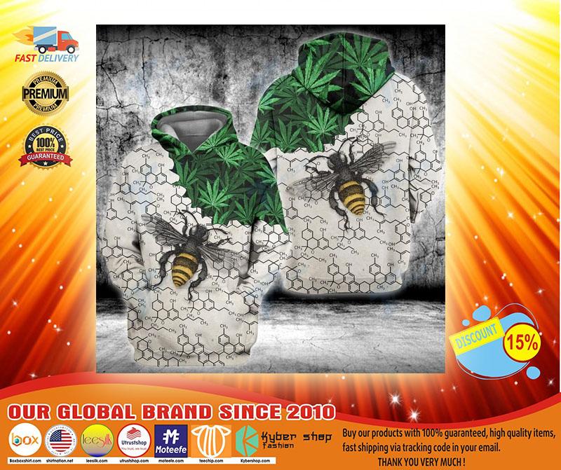 Weed bee happy dictionary 3D hoodie3