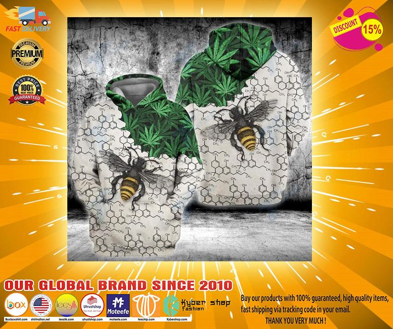 Weed bee happy dictionary 3D hoodie2