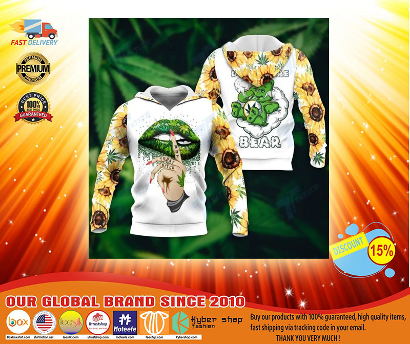 Weed dont care bear 3D hoodie3