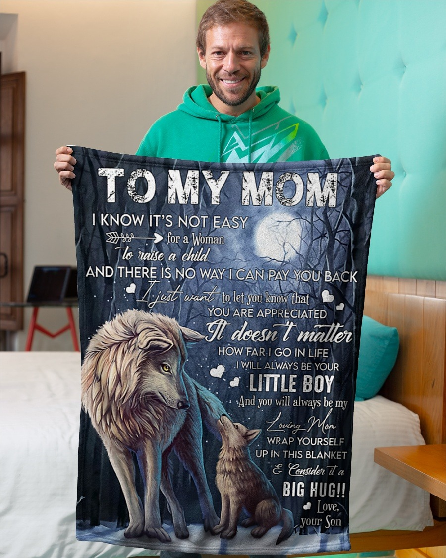 Wolf to my son fleece blanket3