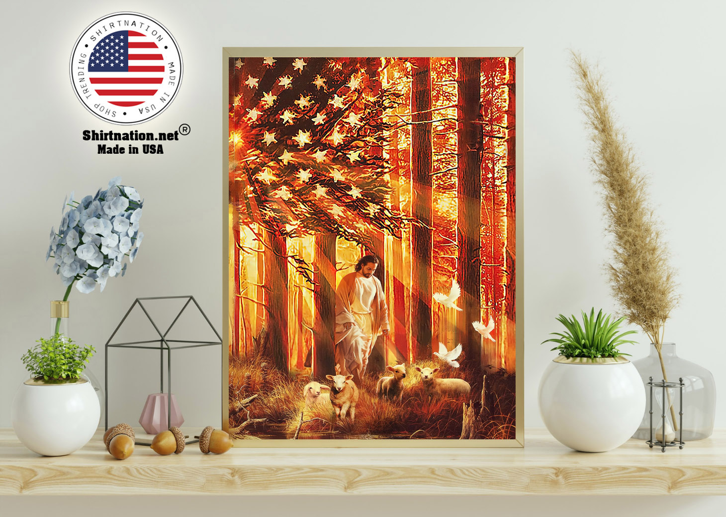 American flag Jesus walking with the lambs poster canvas 11