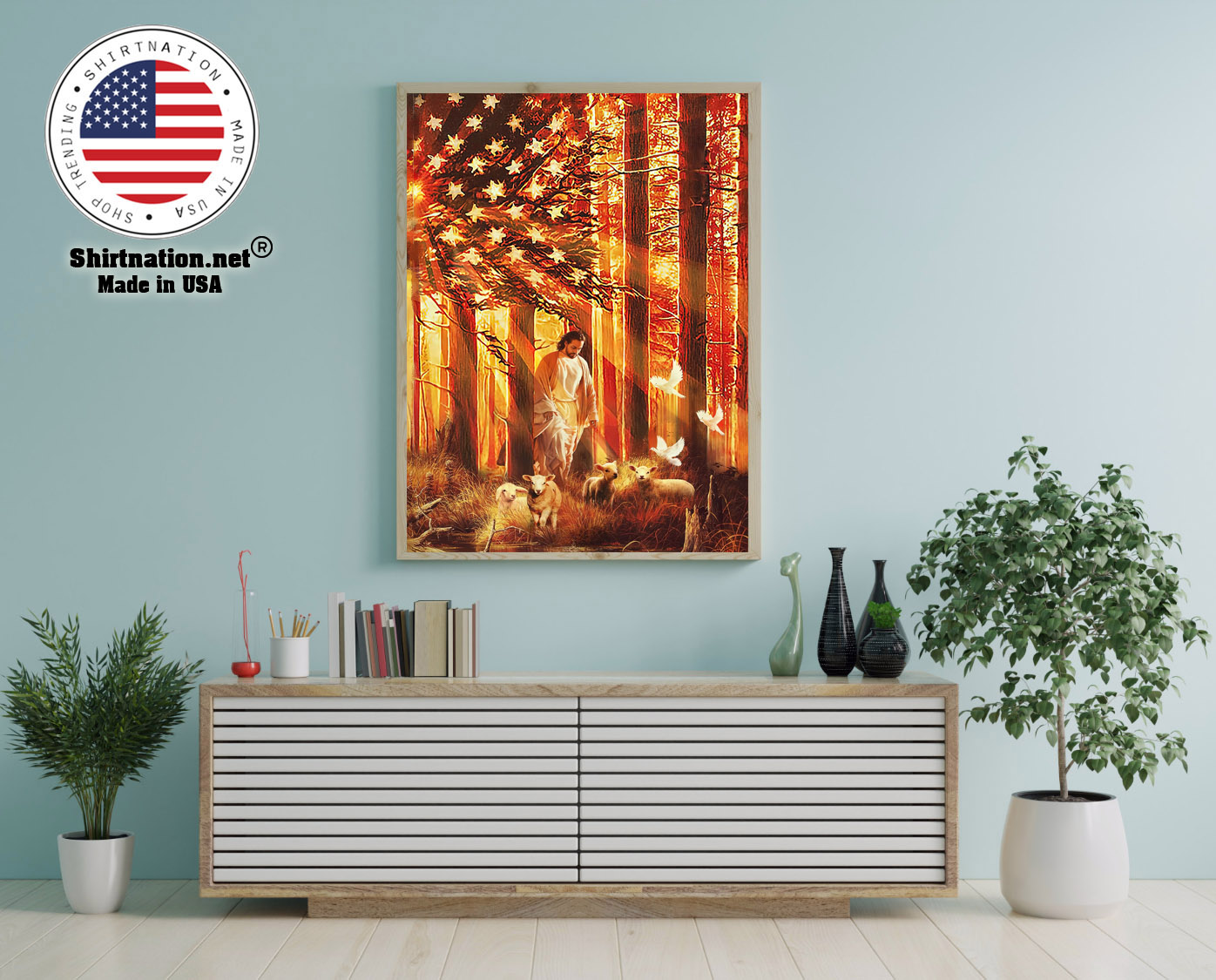 American flag Jesus walking with the lambs poster canvas 12