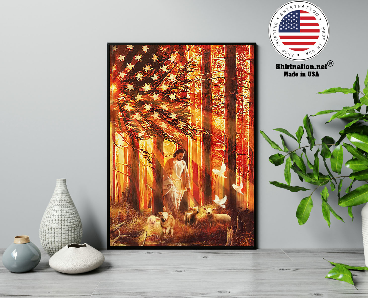 American flag Jesus walking with the lambs poster canvas 13