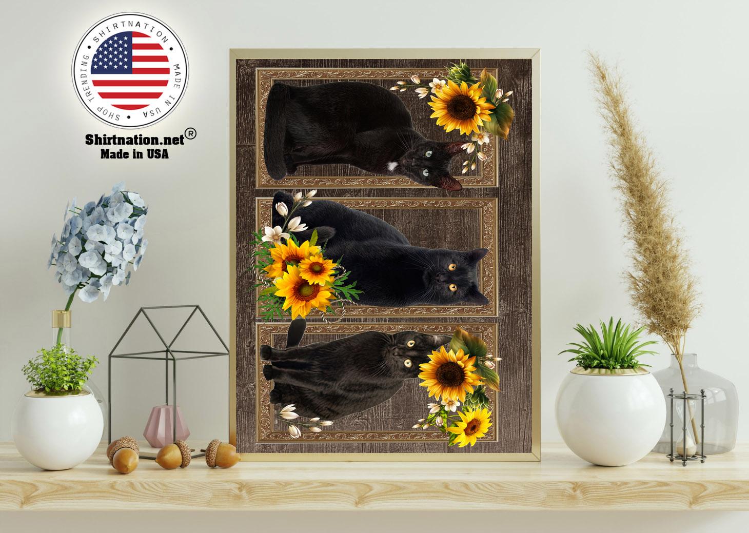 Black cat sunflower frame doormat 11