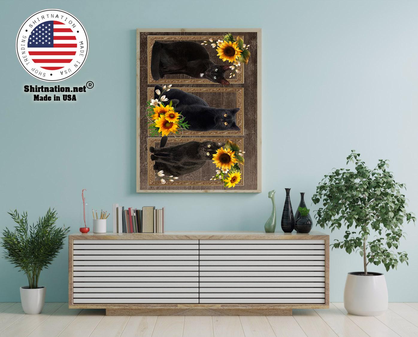 Black cat sunflower frame doormat 12