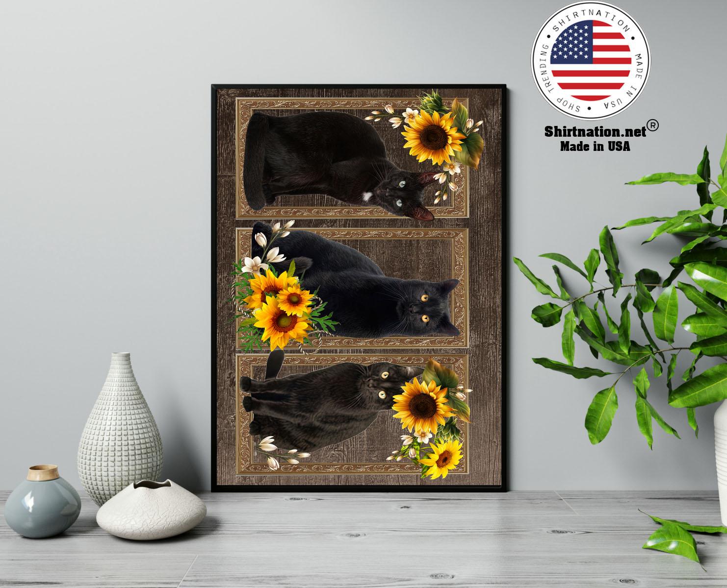 Black cat sunflower frame doormat 13